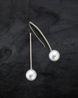 Jumbo Pearl Crescent Diamond T-Drop Earrings