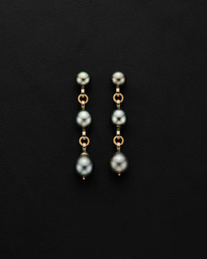 Ball and Chain Pearl Earrings