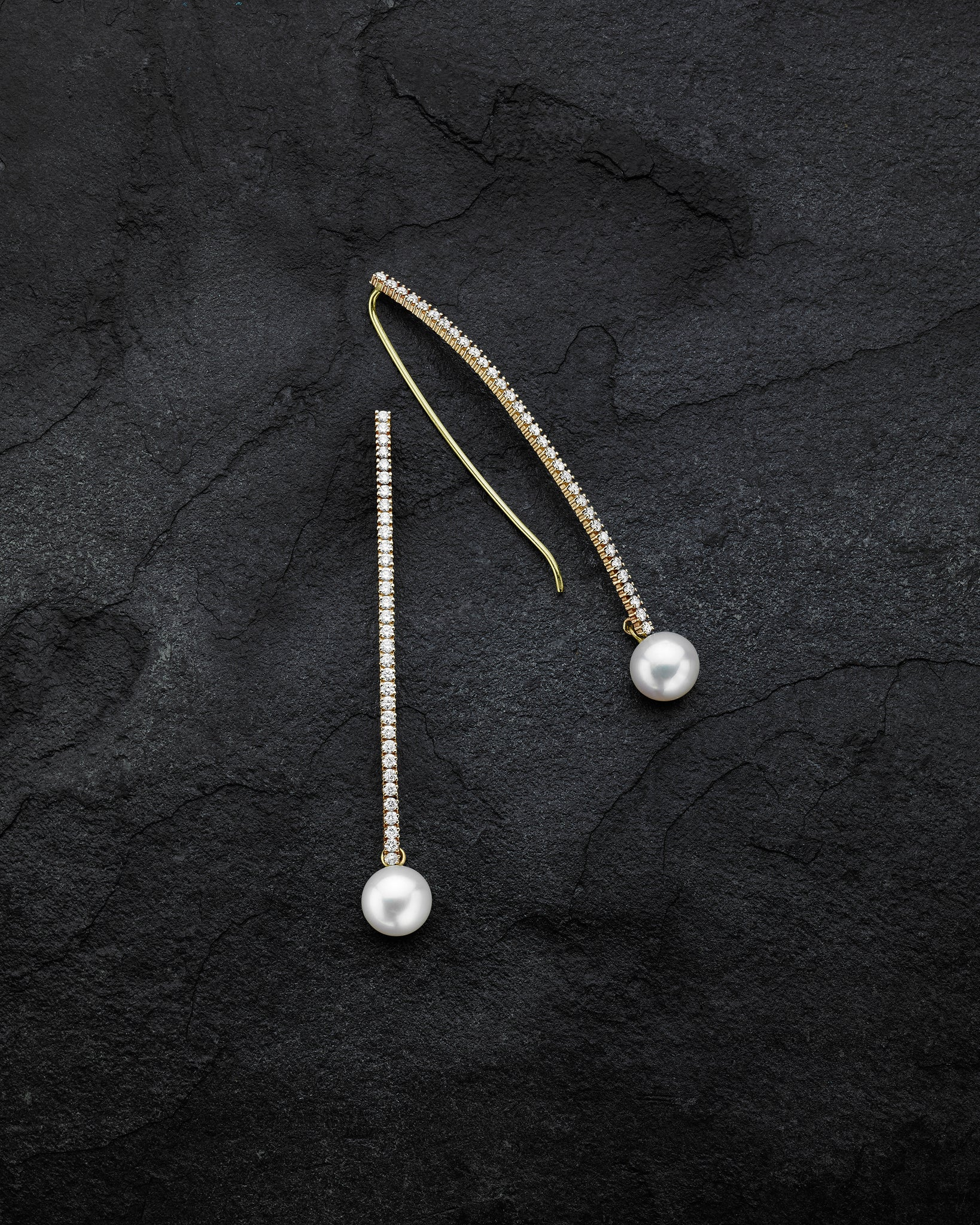 Pearl Crescent Diamond T-Drop Earrings