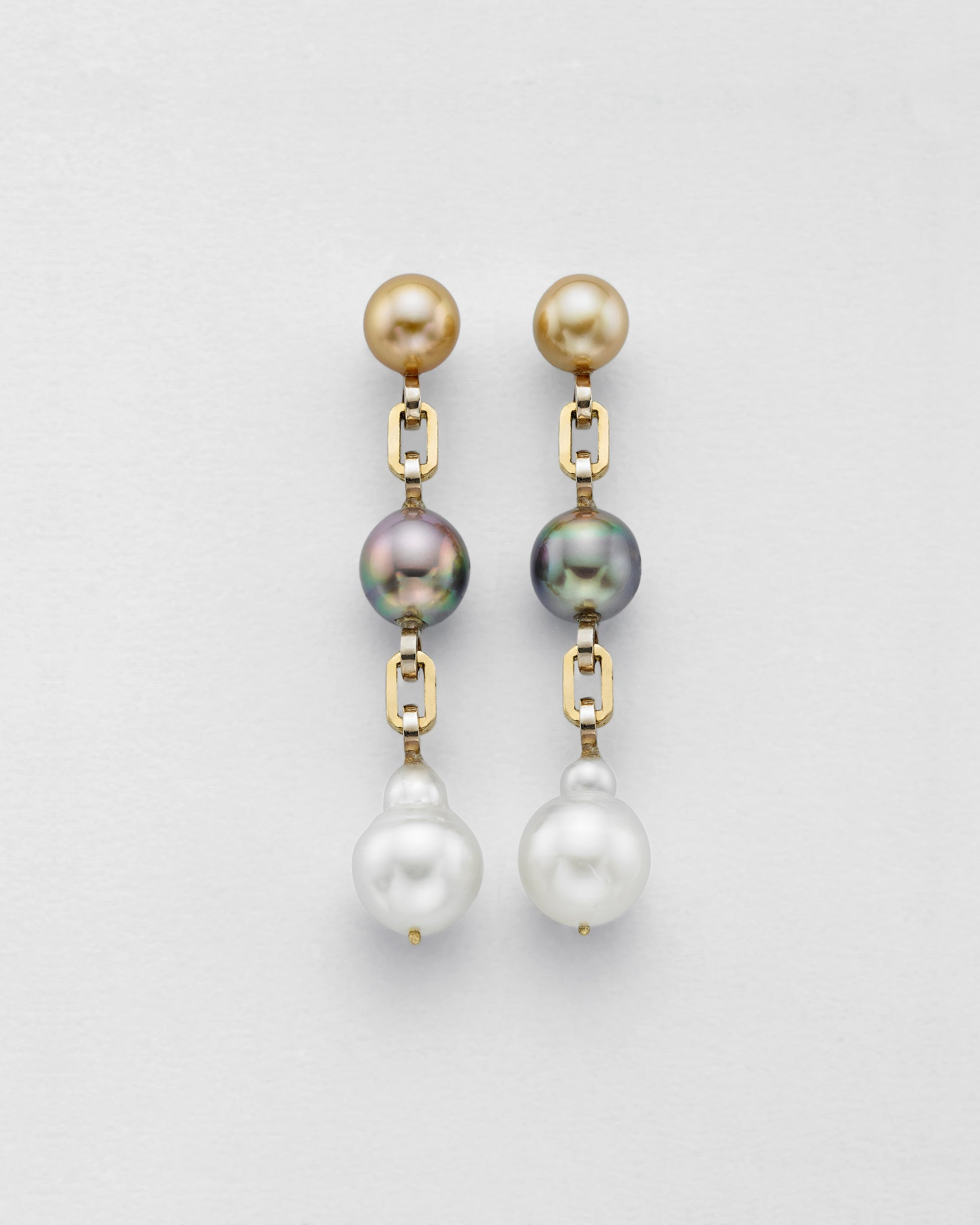 Ball and Chain Tri Color Pearl Earrings