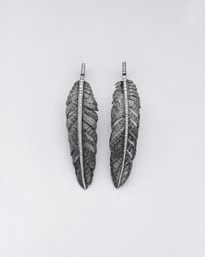 Structured Diamond Feather Earrings