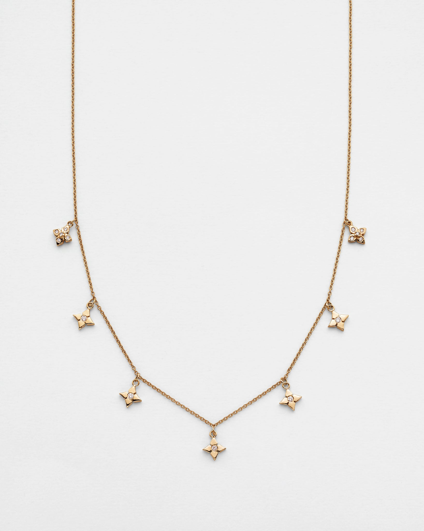 Chain Reaction Multi Clover Pointed Petal Necklace