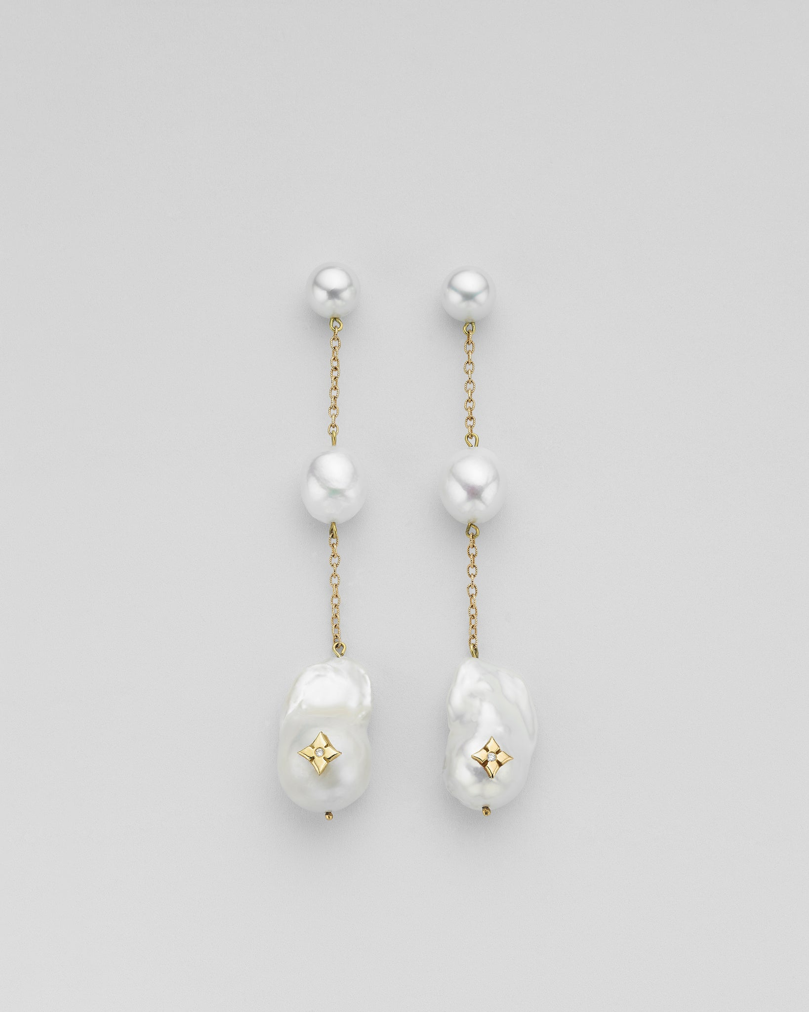 Shoulder Duster Clover Trio Inlay Pearl Chain Earrings