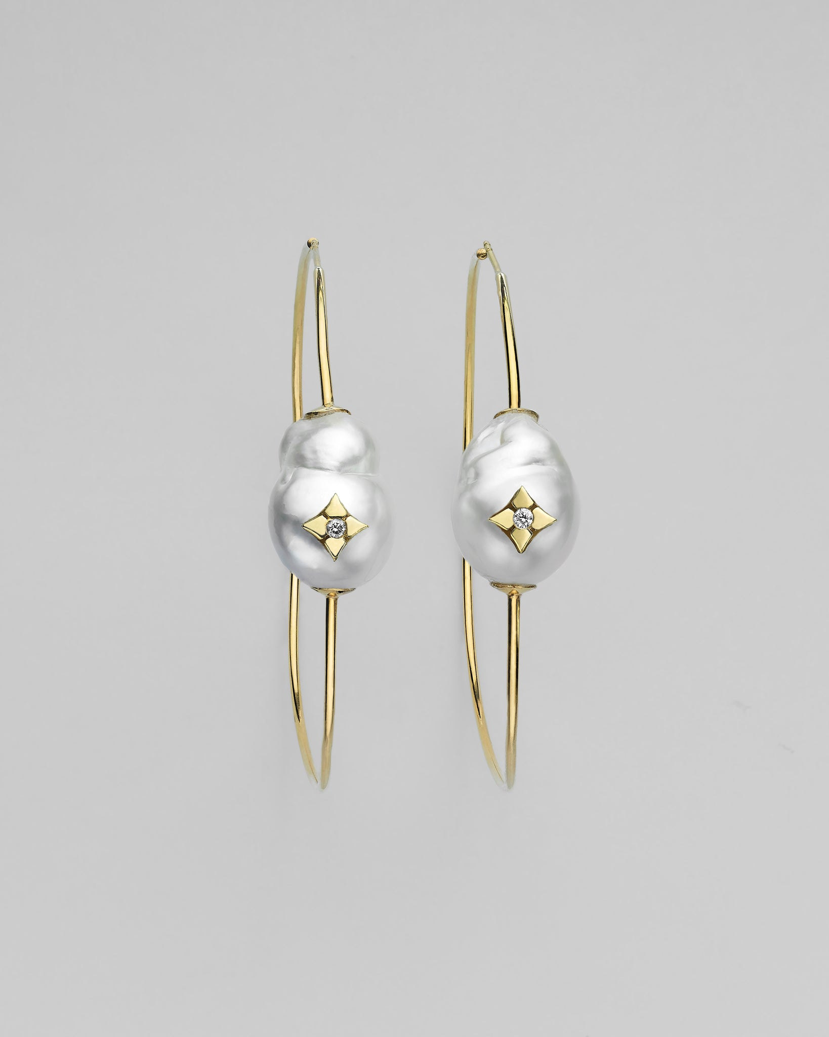 Hula Baroque South Sea Pearl Clover Inlay Charm Earrings