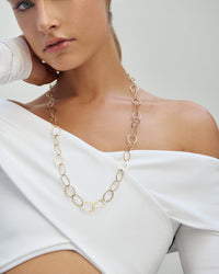 Circle Softly Hammered Chain Necklace