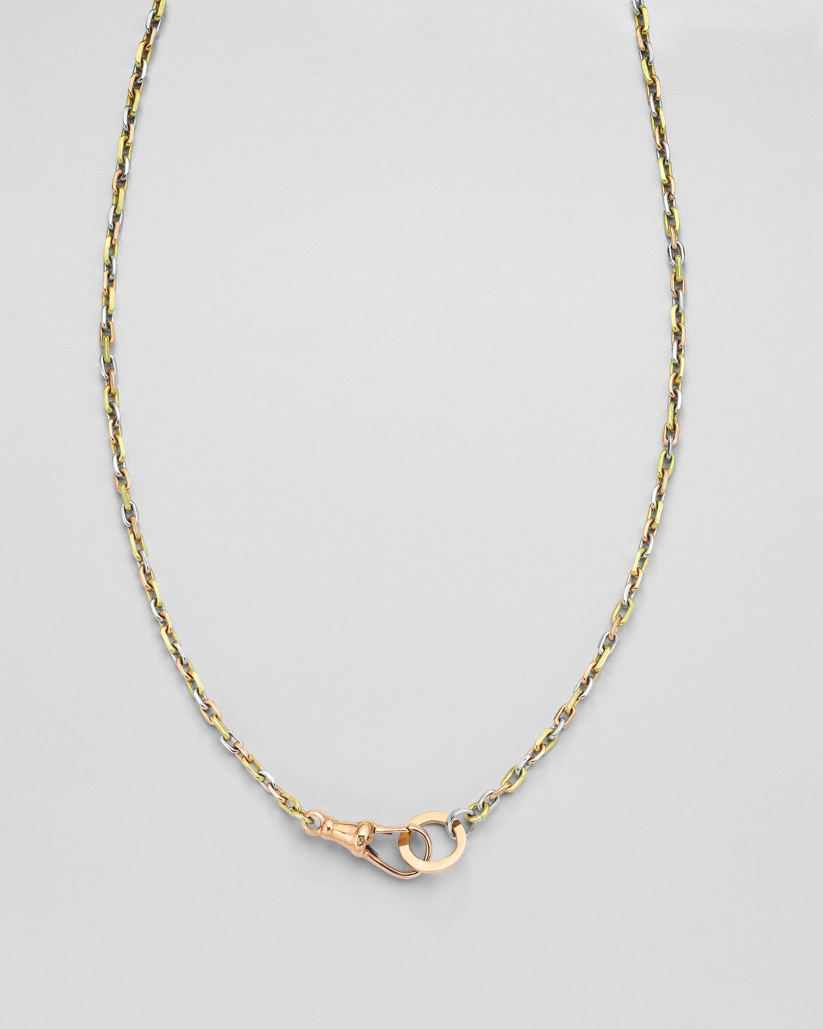 Tri-Color Petite Cable Chain Necklace