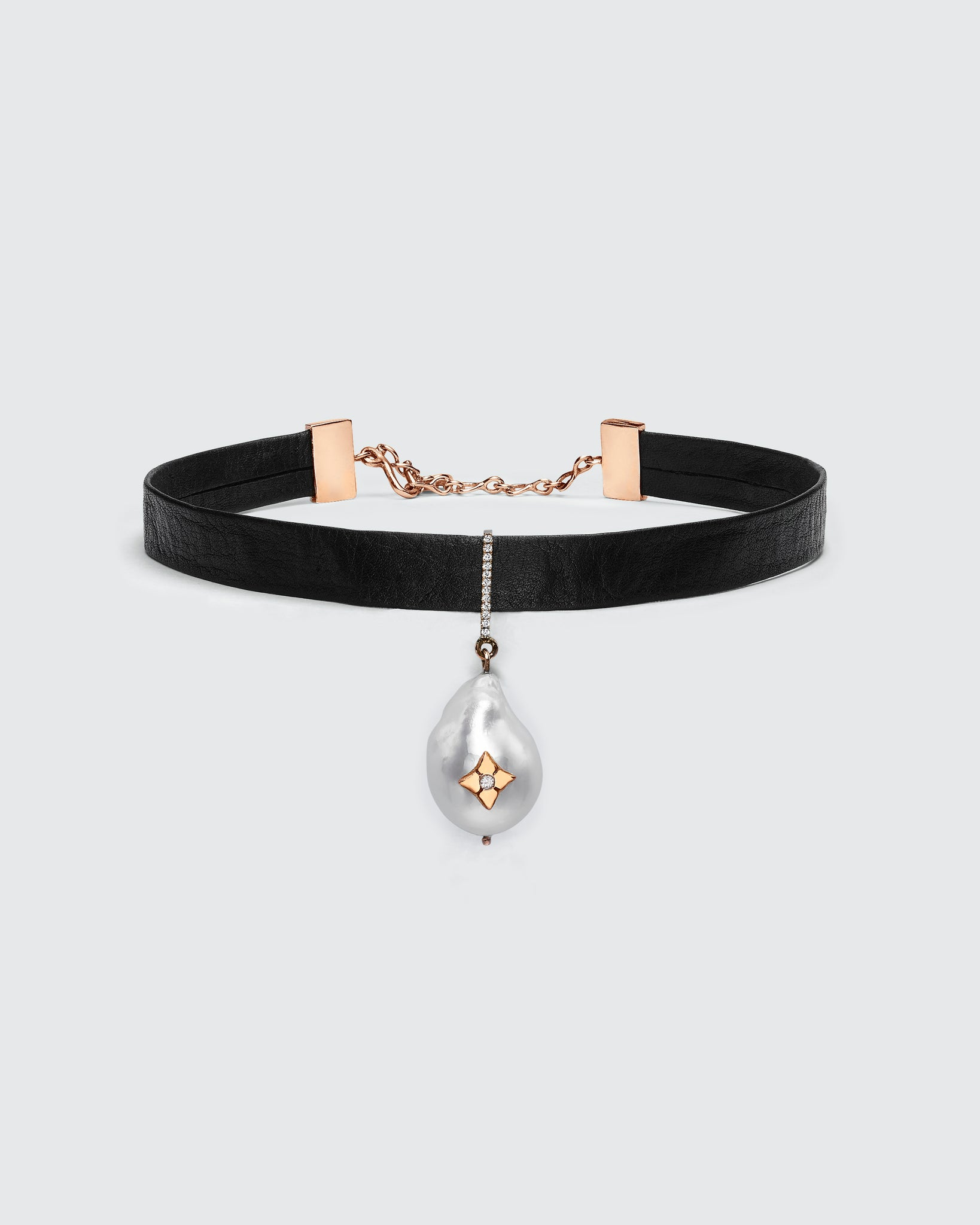 Black Butter South Sea Pearl Diamond Clover Choker