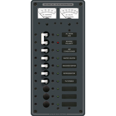 Blue Sea 8074 AC Main +8 Positions Toggle Circuit Breaker Panel - White Switches [8074]
