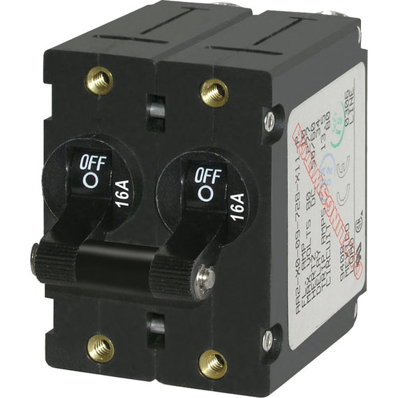 Blue Sea 7348 A-Series Double Pole Toggle - 16A - Black [7348]