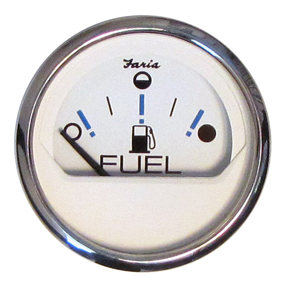 "Faria Chesapeake White SS 2"" Fuel Level Gauge - Metric (E-1/2-F) [13818]"