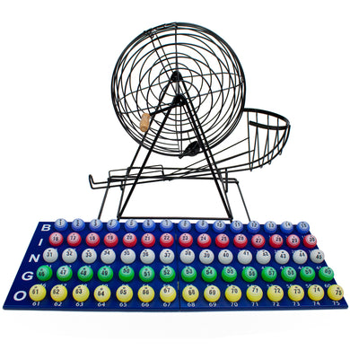 "Professional Bingo Set w- 19"" Cage, 1.5"" Balls, & Wood Board"