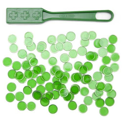 Green Magnetic Bingo Wand with 100 Metallic Bingo Chips