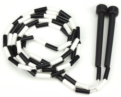Black and White 7-foot jump rope with plastic segmentation