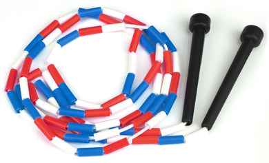 Red, white & blue 7 ft jump rope w-plastic segmentation