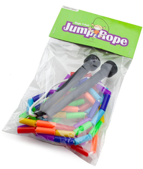 Rainbow 7-foot jump rope with plastic beaded segmentation