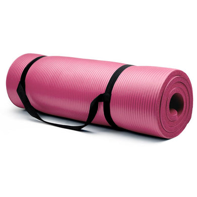 Crown Sporting Goods 5/8-Inch Extra Thick Yoga Mat with No Stick Ridge - Pink