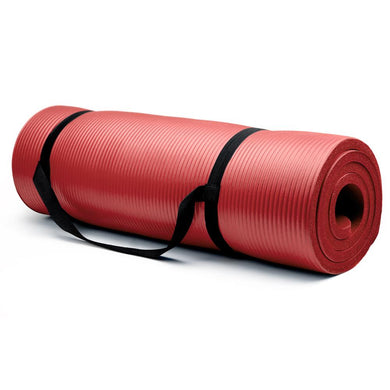 Crown Sporting Goods 5/8-Inch Extra Thick Yoga Mat with No Stick Ridge - red