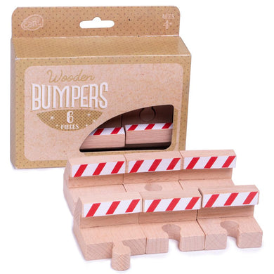 Wooden Train Track Bumpers, 6-pack