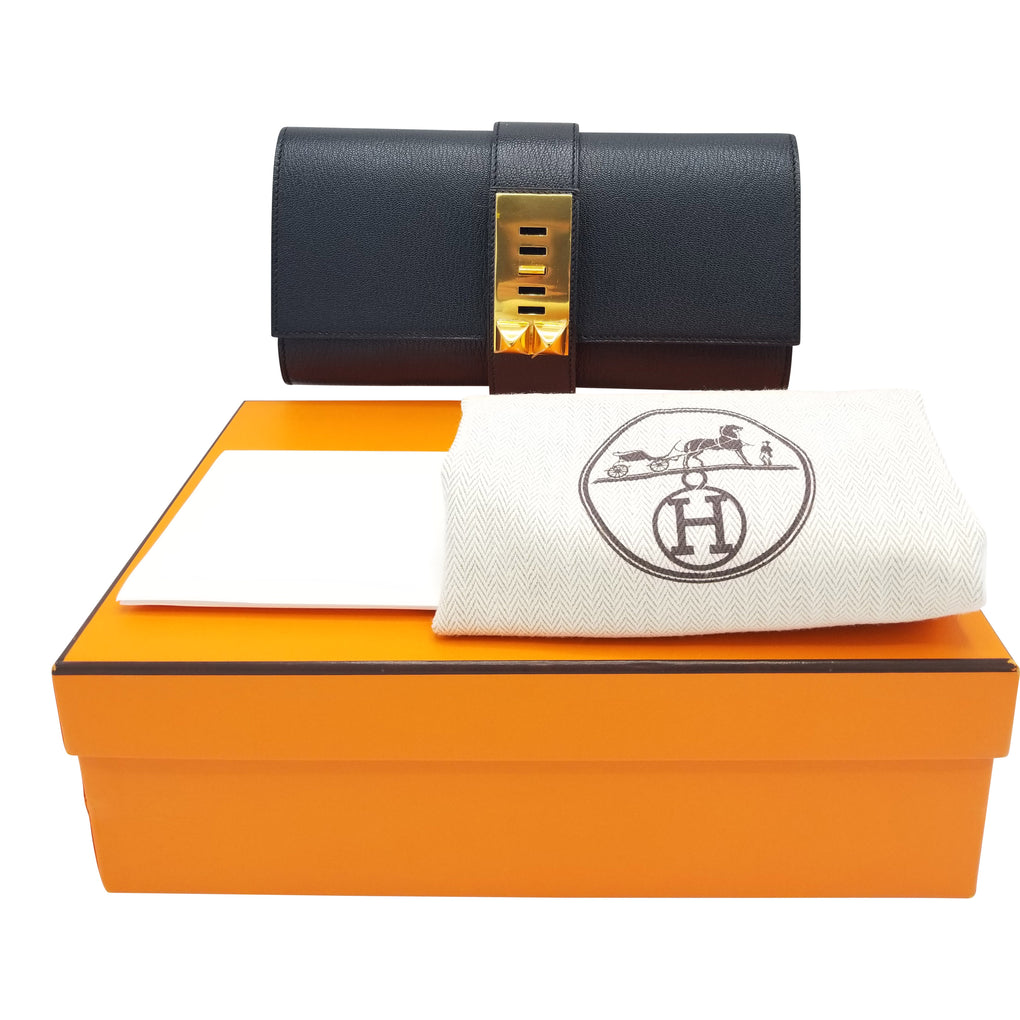 HERMÈS Medor Clutch Size 23CM Black Color Chevre Leather Gold Hardware