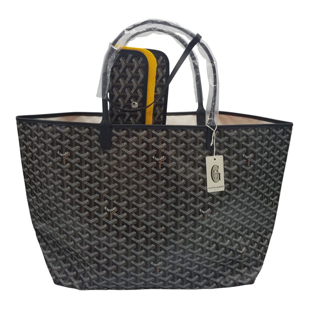 GOYARD St. Louis Tote GM Size Black on Black Trim