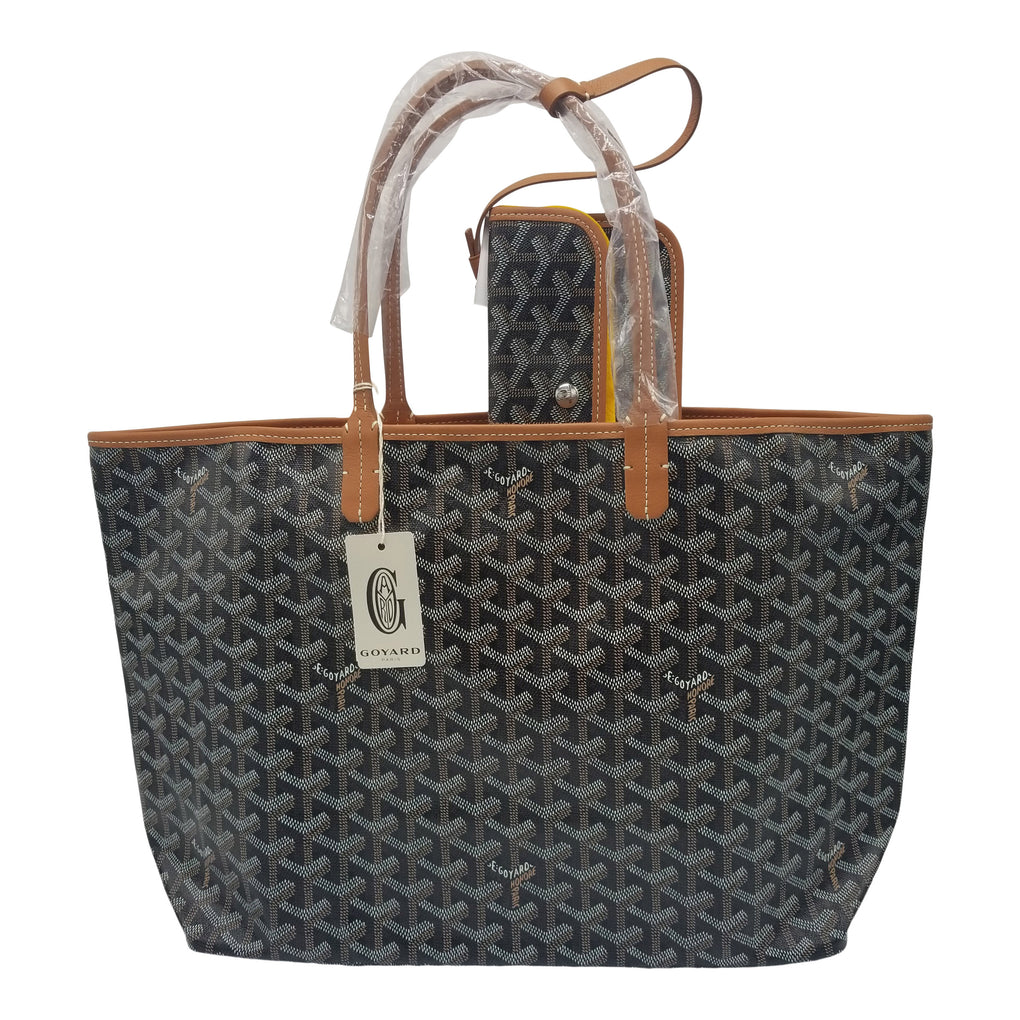 GOYARD St. Louis Tote PM Size Black on Brown Trim
