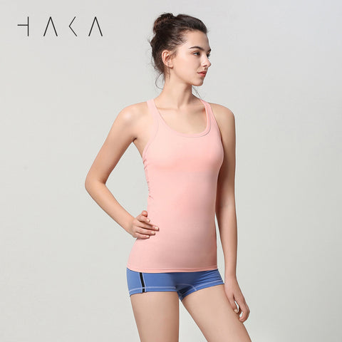 STRAIGHT Tank with Insert Pad Candle Peach - HAKA Active Yoga Activewear