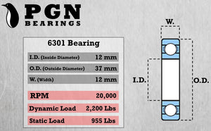 6301-2RS Ball Bearing - C3 Clearance - 12x37x12