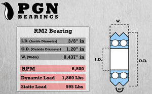 "RM2-2RS 3/8"" V Groove Roller Ball Bearing"