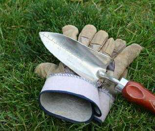 Gloves and Garden Trowel