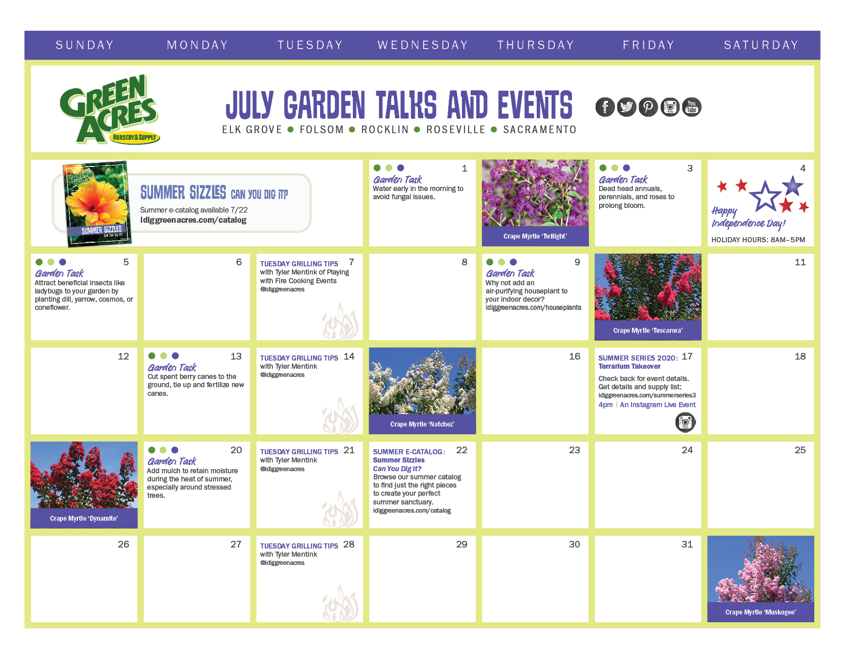 JULY 2020 Calendar of Events