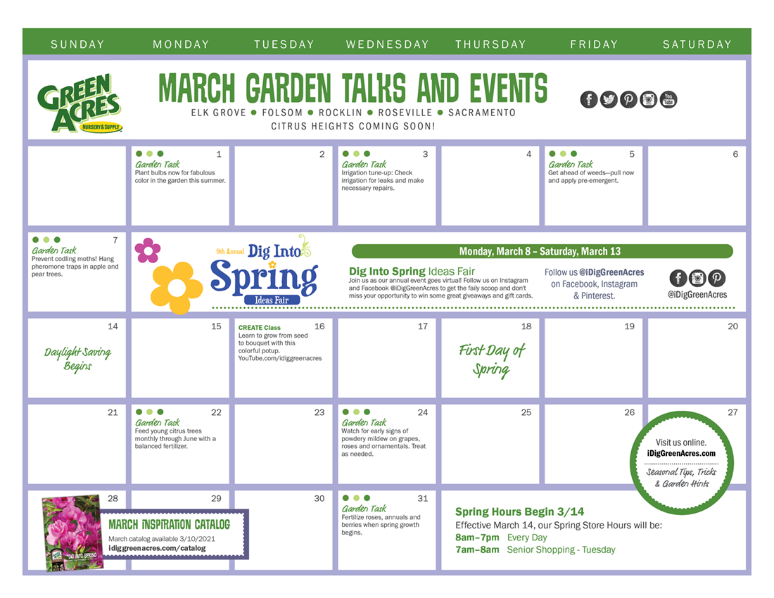 MARCH 2021 Calendar of Events