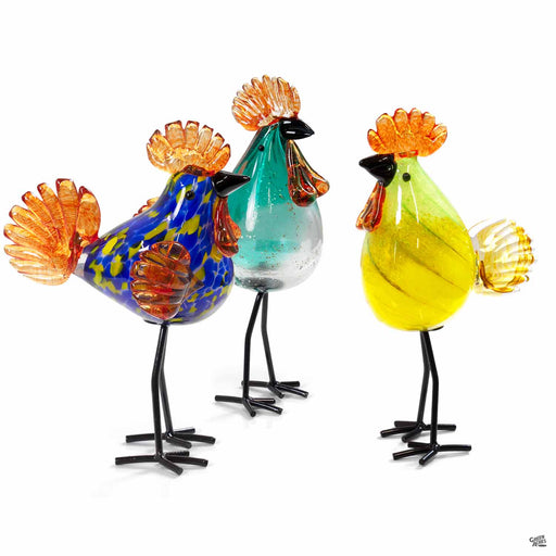 ApricotMint glass roosters