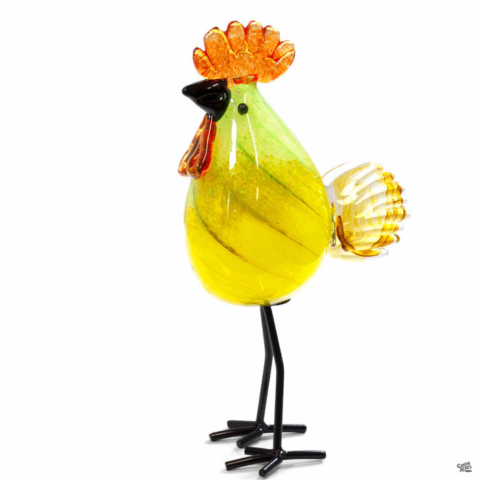 ApricotMint glass rooster yellow