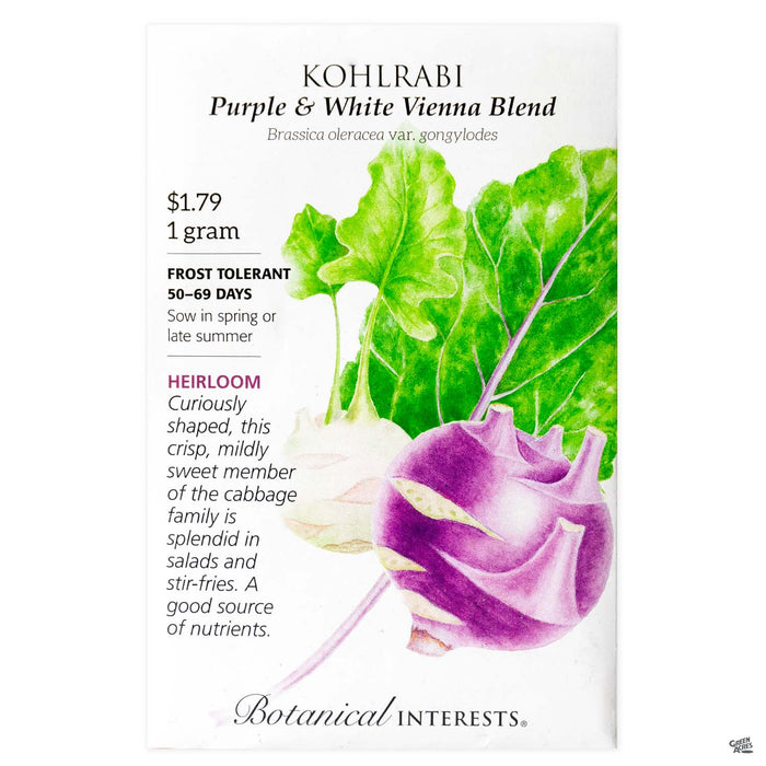 Botanical Interests Seeds Kohlrabi Purple and White Vienna Blend