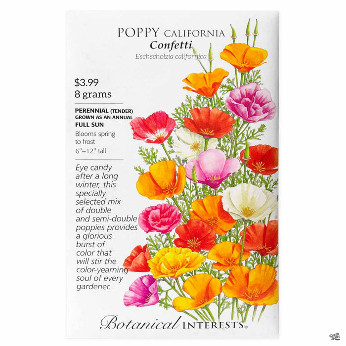 Botanical Interests Seeds Poppy California Confetti