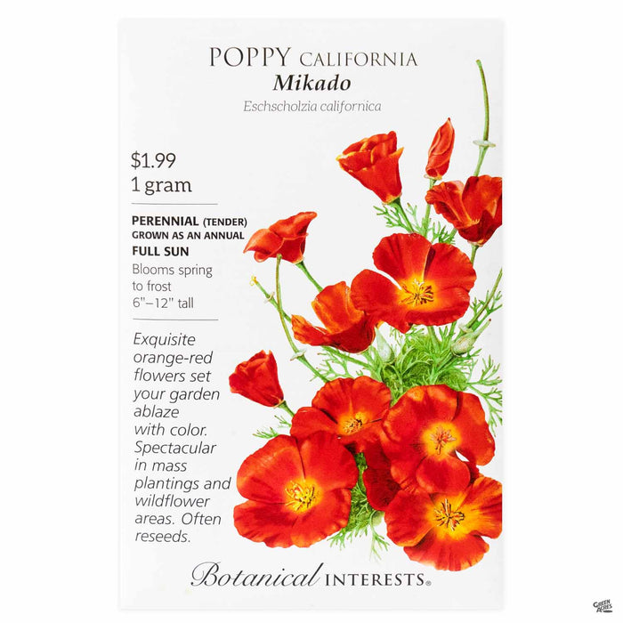 Botanical Interests Seeds Poppy California Mikado