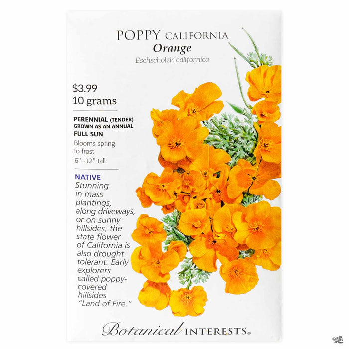 Botanical Interests Seeds Poppy California Orange
