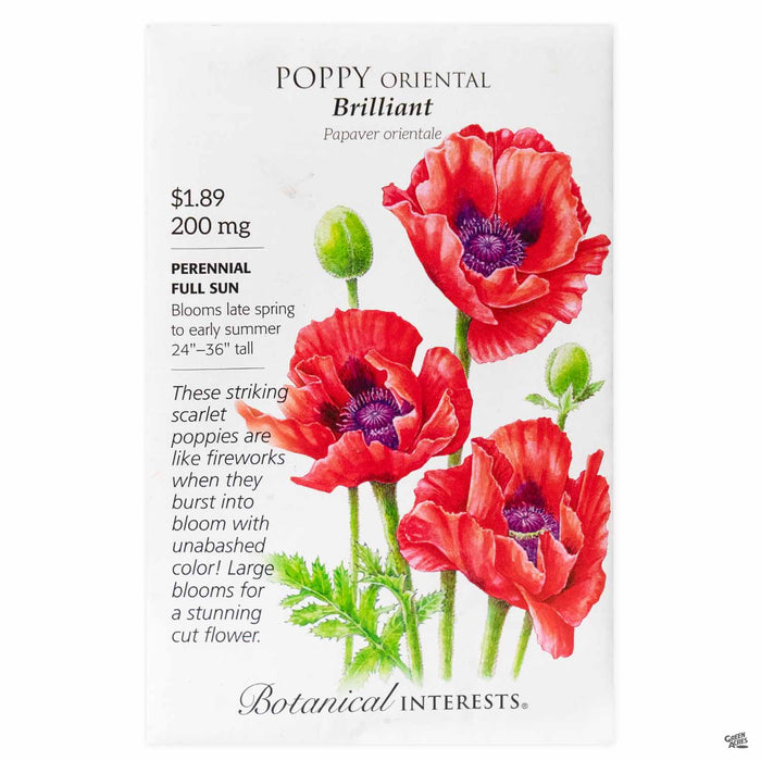 Botanical Interests Seeds Poppy Oriental Brilliant