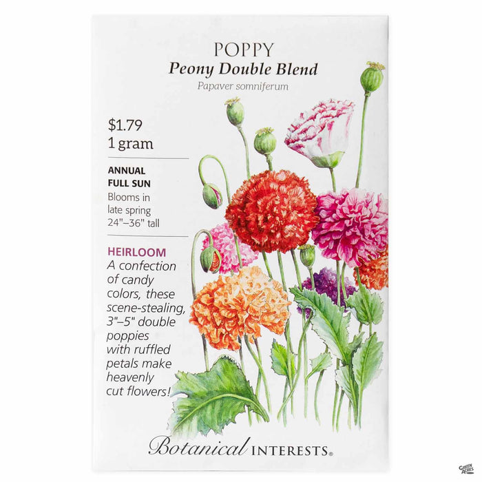 Botanical Interests Seeds Poppy Peony Double Blend