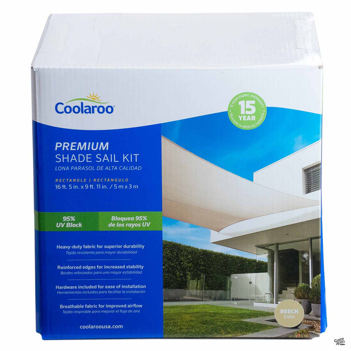 Coolaroo Rectangle Premium Shade Sail Kit in Beech