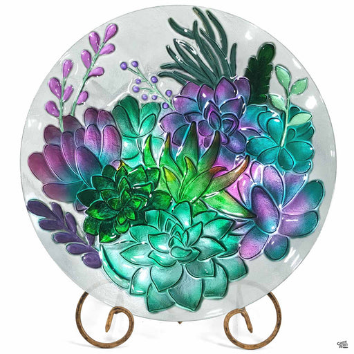 Succulent Bird Bath Glass Birdbath