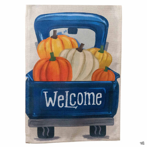 Blue Truck with Pumpkins Flag 12 inch by 17 inch