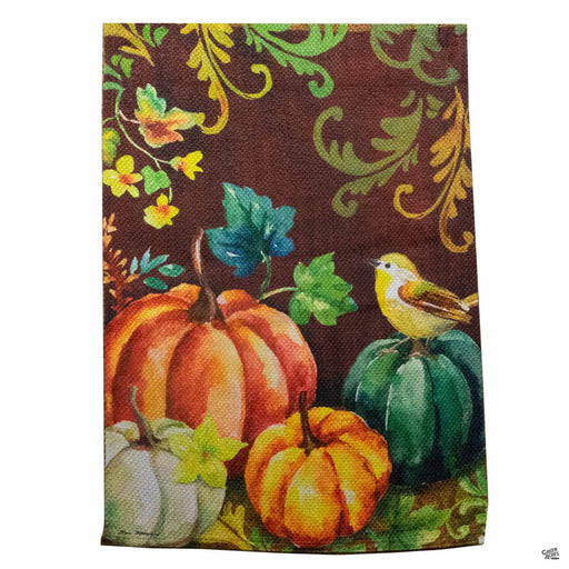Pumpkins and Yellow Bird Flag 12 inch by 17 inch