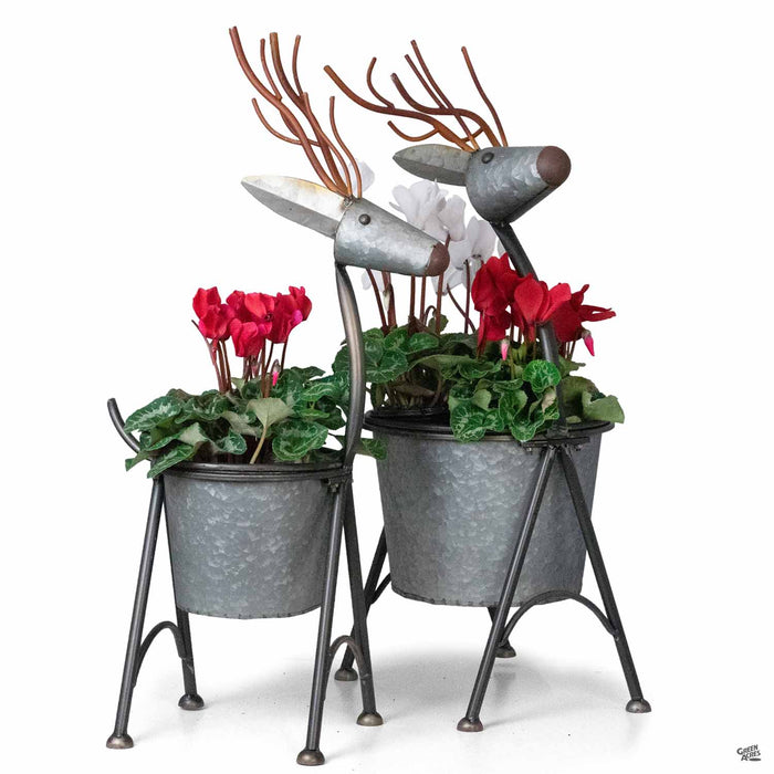 Nesting Metal Deer Planter group