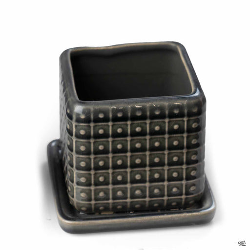 Dotted Square Crackle Pot in Black - 3 inch