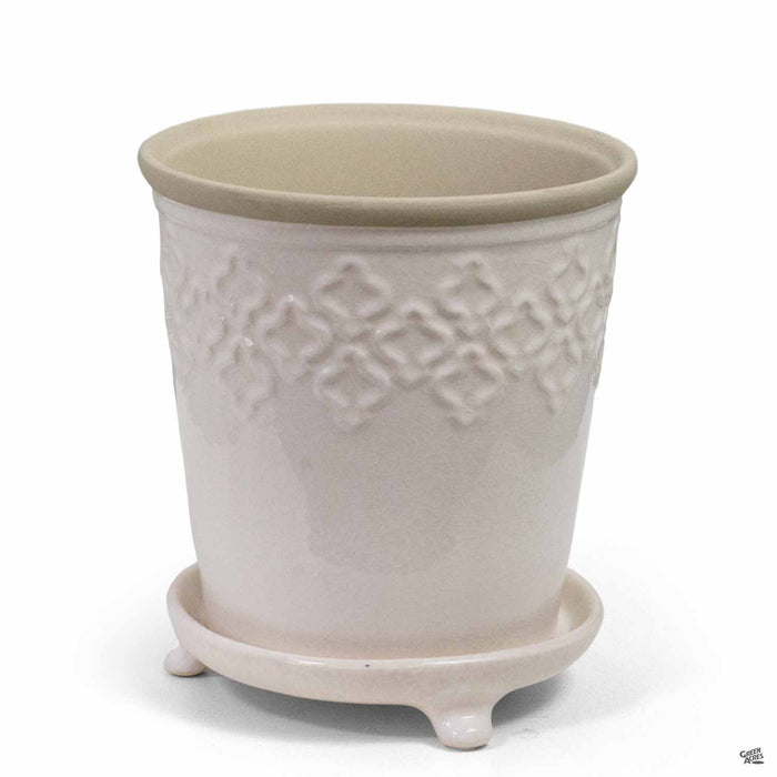 Quatrefoil Pot Large Crackle White 7 inch wide by 8 inch tall