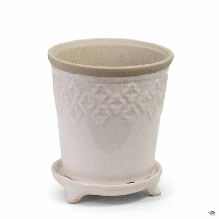 Quatrefoil Pot Small Crackle White 5.25 inch wide by 6 inch tall