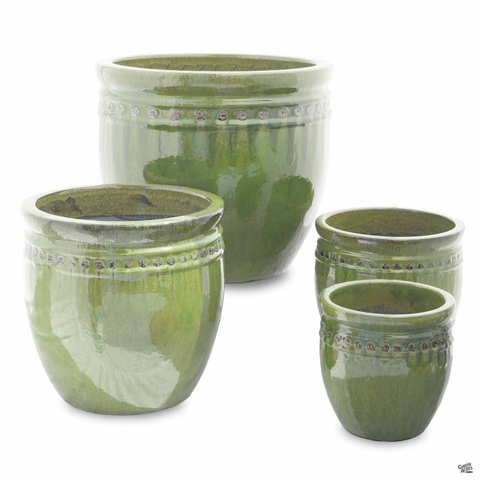 Decor Pot with Pattern - All 4 Sizes in Green