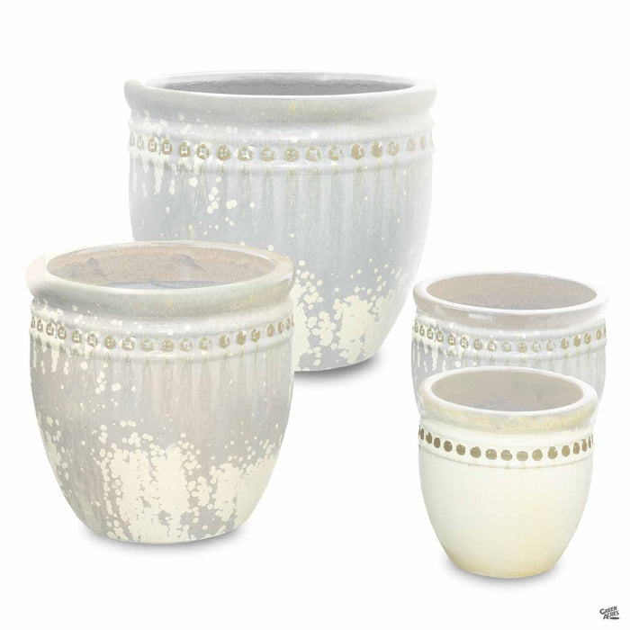 Decor Pot with Pattern - All 4 Sizes in White