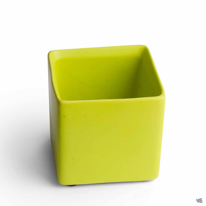 Cube Cache Pot 2.5 inch Lime Green